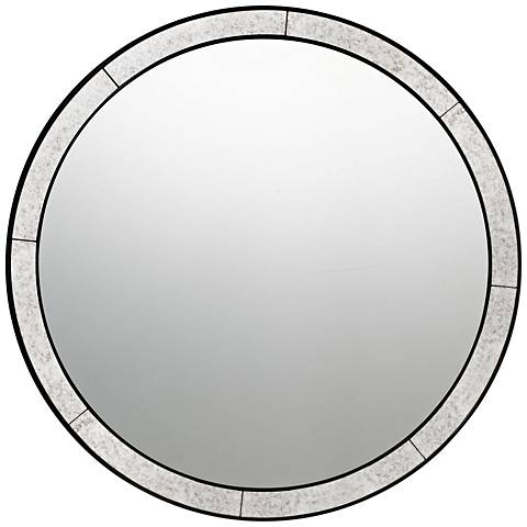 """Quoizel Revival Black 30"""" Round Wall Mirror"""
