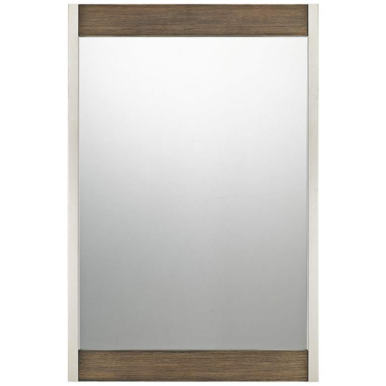 "Quoizel Urban Row Brush Silver 24"" x 36"" Wall Mirror"