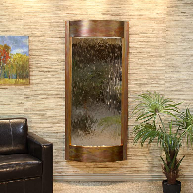 """Pacifica Waters 69""""H Copper and Bronze Mirror Wall Fountain"""