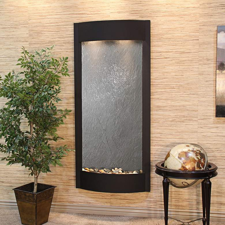 "Pacifica Waters 69""H Textured Black and Stone Wall Fountain"