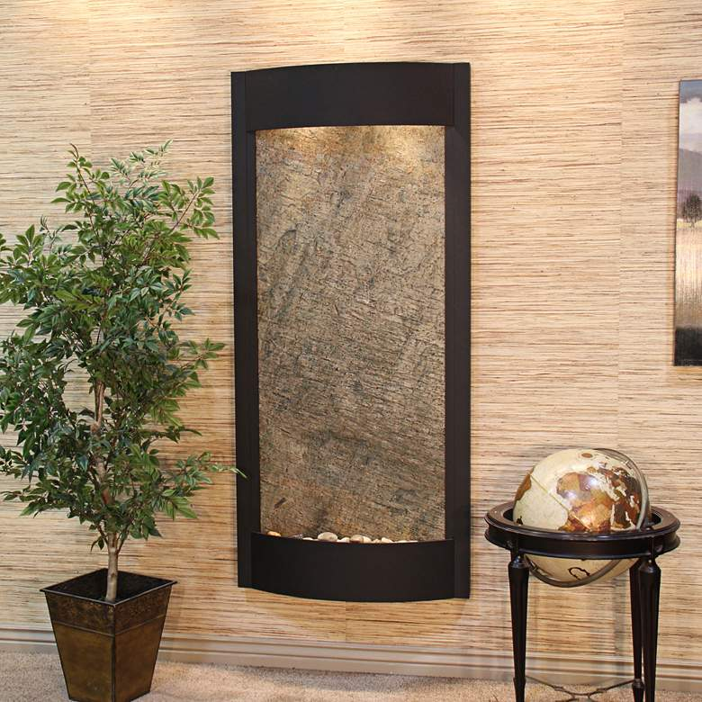 """Pacifica Waters 69""""H Black and Green Stone Wall Fountain"""