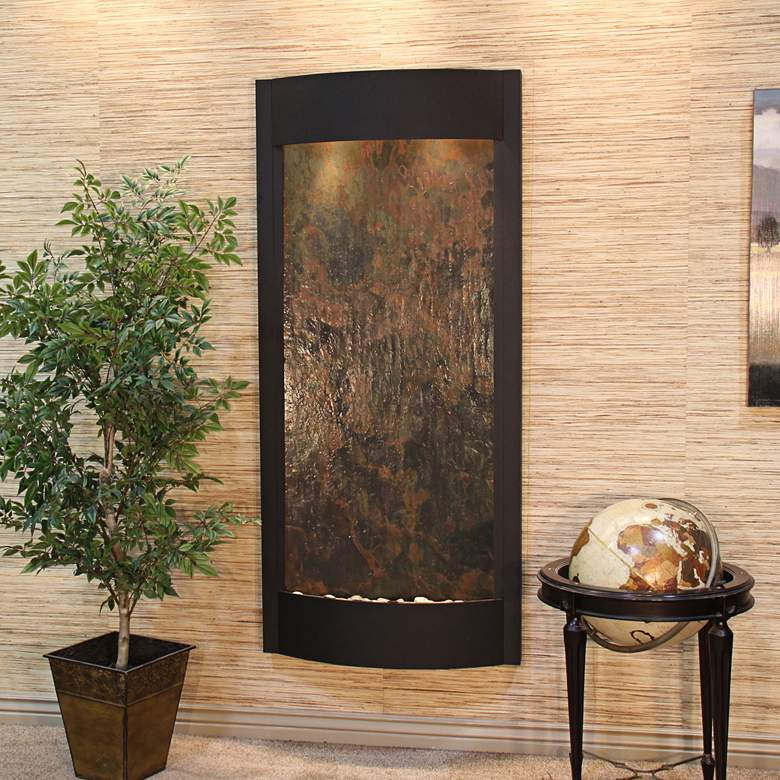 "Pacifica Waters 69""H Multi-Color Stone Black Wall Fountain"