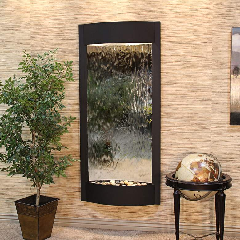 """Pacifica Waters 69""""H Black and Silver Mirror Wall Fountain"""