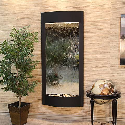 "Pacifica Waters 69""H Black and Silver Mirror Wall Fountain"