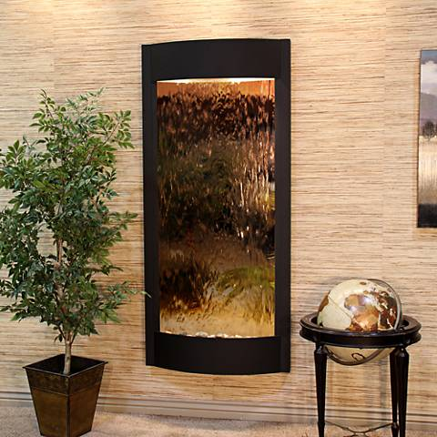 """Pacifica Waters 69""""H Black and Bronze Mirror Wall Fountain"""