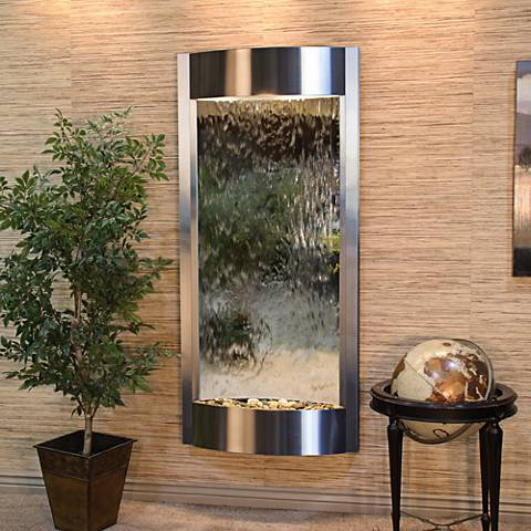 """Pacifica Waters 69""""H Steel and Silver Mirror Wall Fountain"""