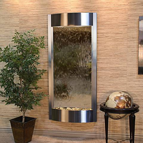 """Pacifica Waters 69""""H Steel and Bronze Mirror Wall Fountain"""