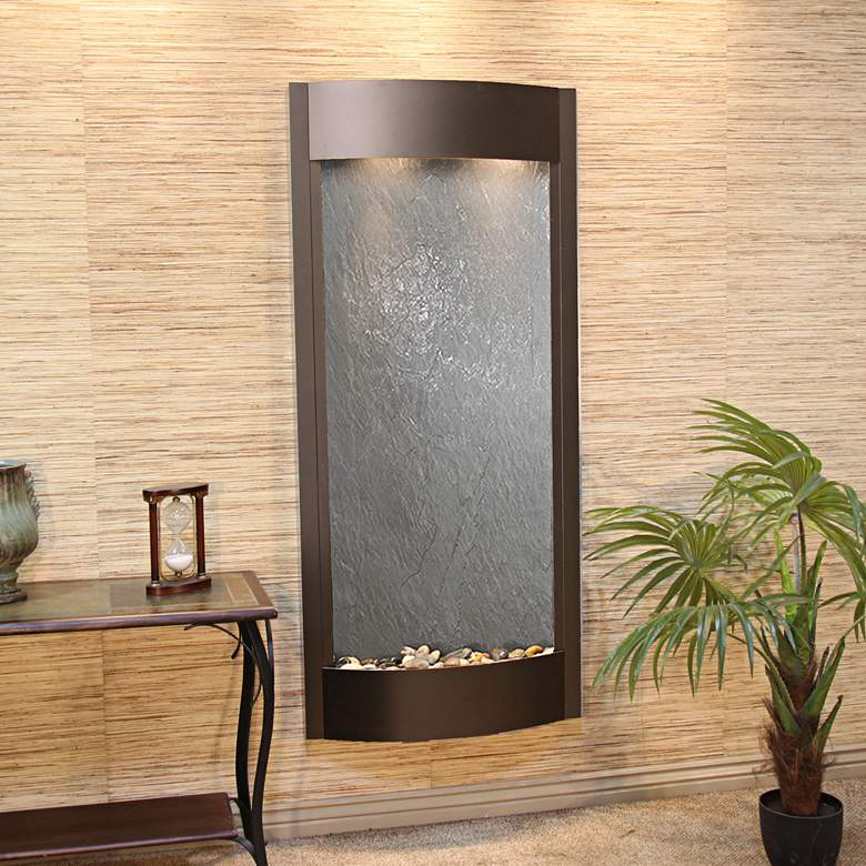 """Pacifica Waters 69""""H Bronze and Black Stone Wall Fountain"""