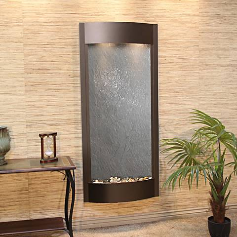 "Pacifica Waters 69""H Bronze and Black Stone Wall Fountain"