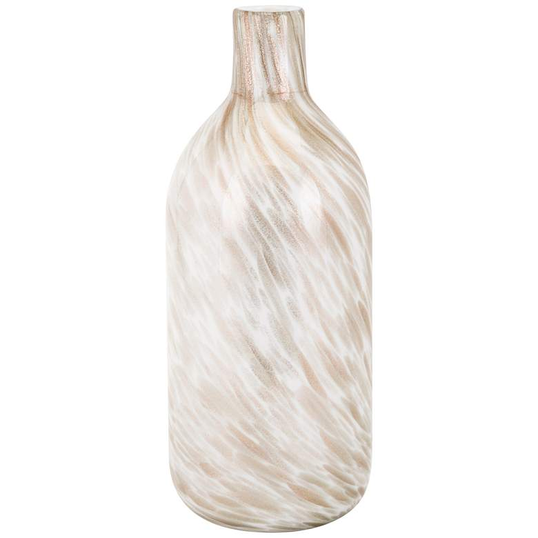"Adriana White and Brown Swirl 15 3/4"" High Tall Glass Vase"