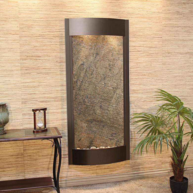 """Pacifica Waters 69""""H Bronze and Green Stone Wall Fountain"""