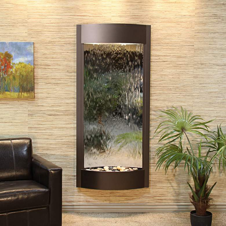 "Pacifica Waters 69""H Bronze and Silver Mirror Wall"