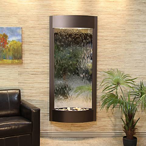 """Pacifica Waters 69""""H Bronze and Silver Mirror Wall Fountain"""
