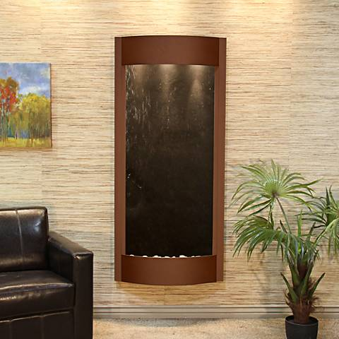 """Pacifica Waters 69"""" High Brown and Black Stone Wall Fountain"""