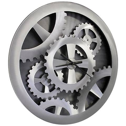"Nova Gears Moving Silver 38 3/4"" Round Wall Clock"