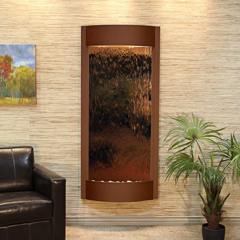 """Pacifica Waters 69""""H Brown and Bronze Mirror Wall Fountain"""