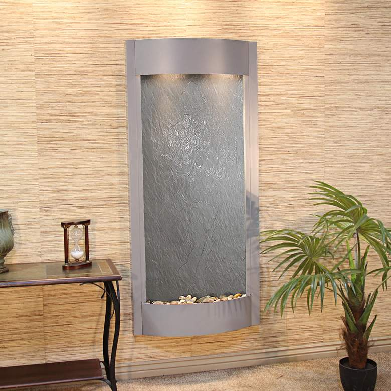 """Pacifica Waters 69""""H Silver and Black Stone Wall Fountain"""