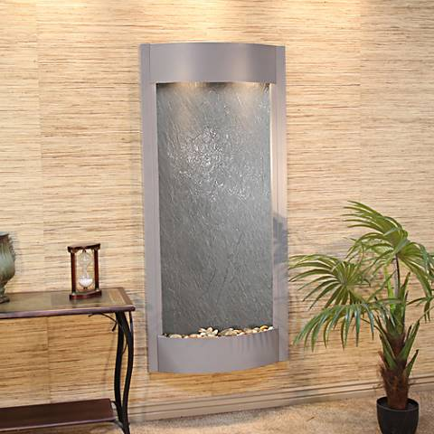 "Pacifica Waters 69""H Silver and Black Stone Wall Fountain"