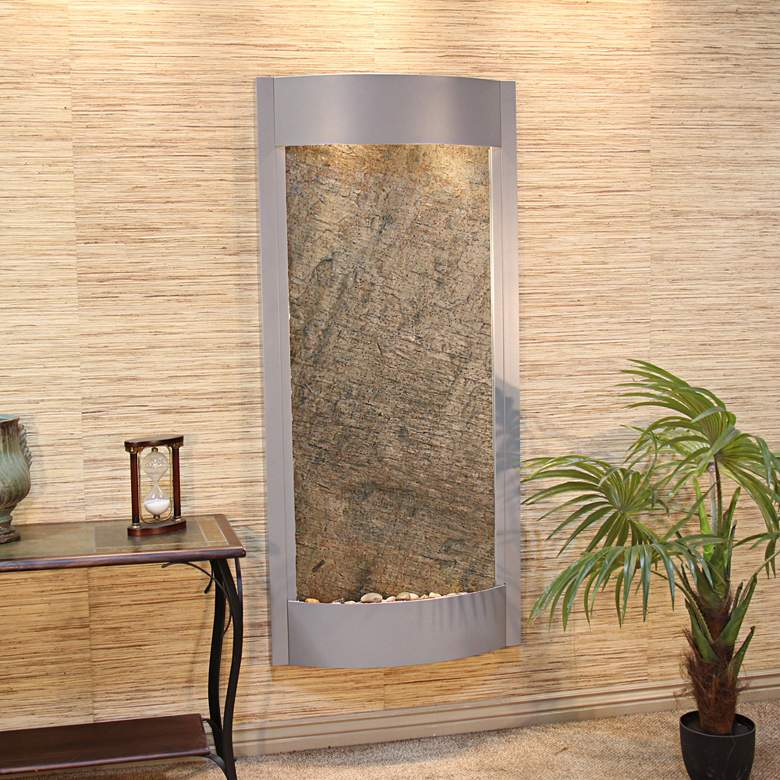 """Pacifica Waters 69"""" Silver and Stone Modern Wall Fountain"""