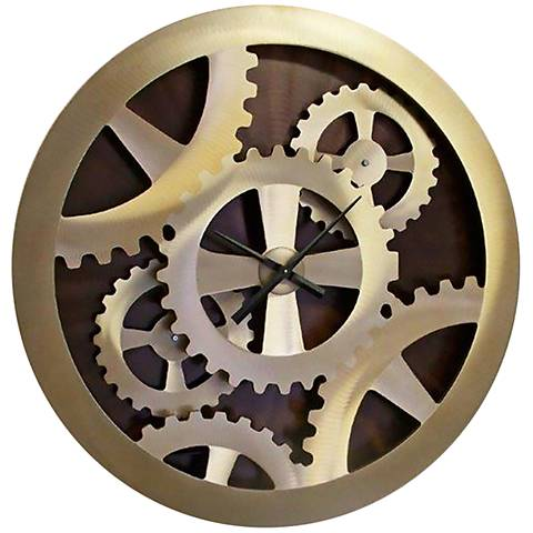 "Nova Gears Moving Gold 38 3/4"" Round Wall Clock"