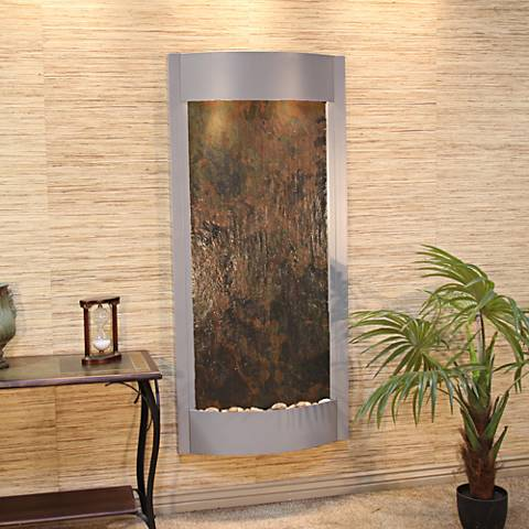 "Pacifica Waters 69""H Multi-Color Stone Silver Wall Fountain"