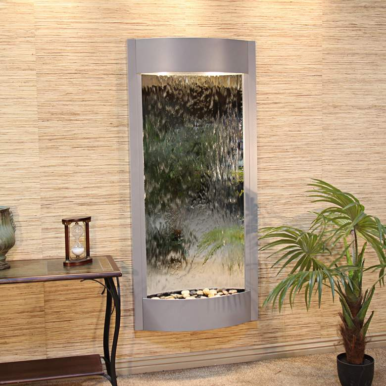 "Pacifica Waters 69""H Silver Metallic Mirror Wall Fountain"