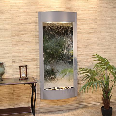"Pacifica Waters 69""H Silver Metallic Mirror Wall Fountain"