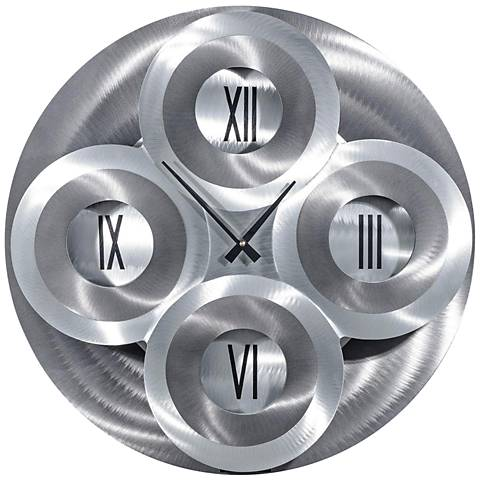 """Moving Dial Silver and Charcoal 23"""" Round Wall Clock"""