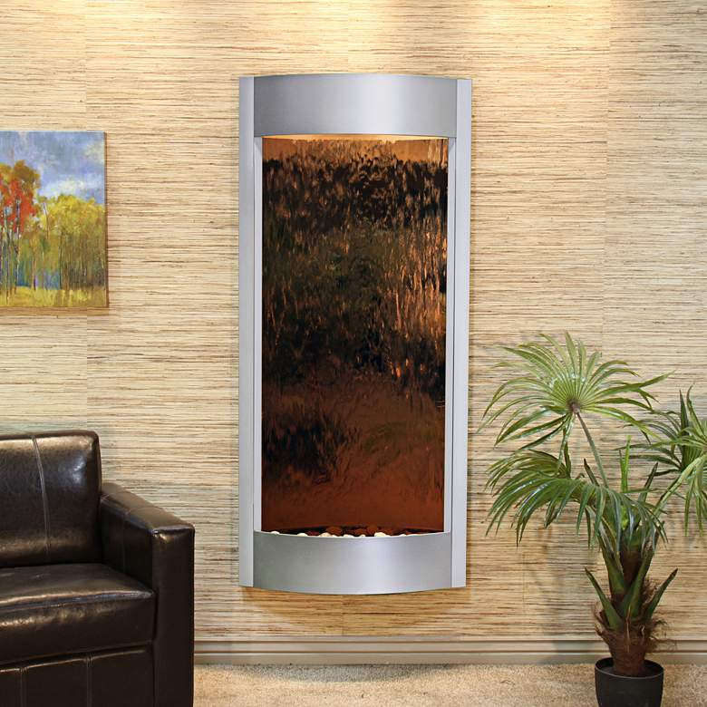 """Pacifica Waters 69""""H Silver and Bronze Mirror Wall Fountain"""