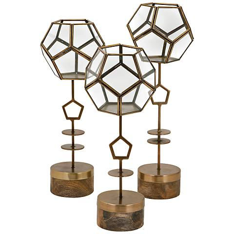 Jada Gold 3-Piece Terrarium Stand Set