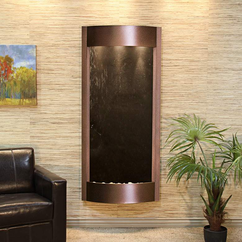 """Pacifica Waters 69""""H Black Stone Copper Vein Wall"""