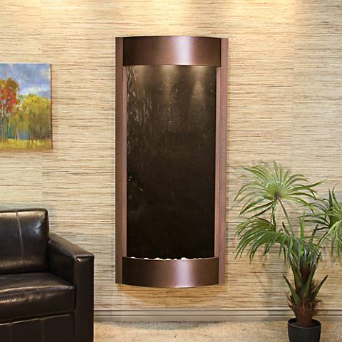 """Pacifica Waters 69""""H Black Stone Copper Vein Wall Fountain"""