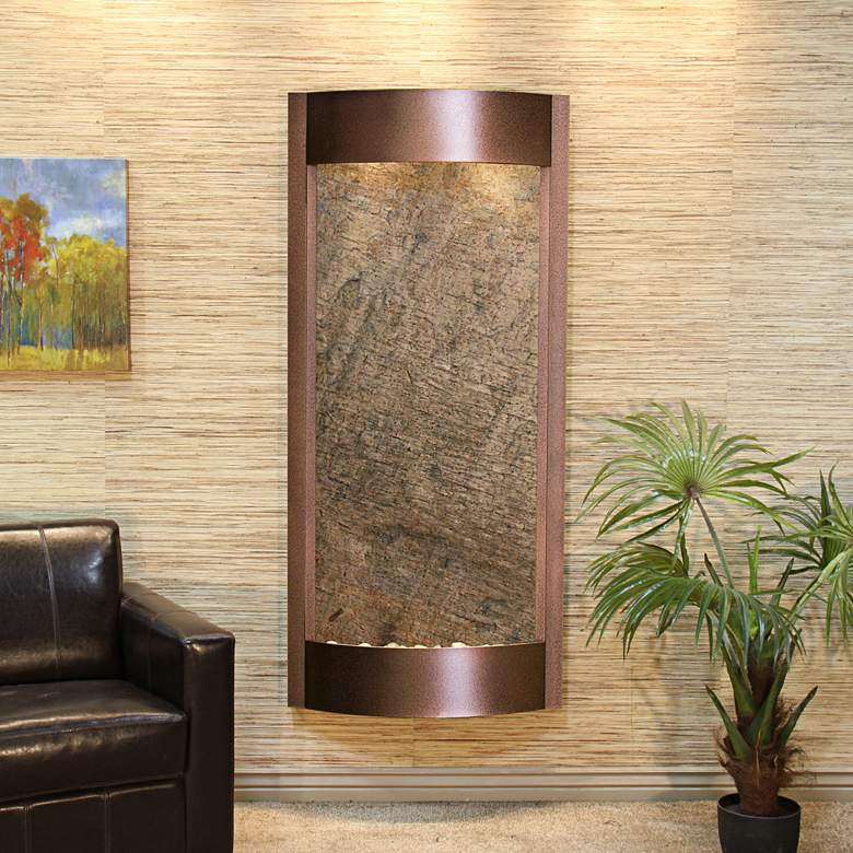 "Pacifica Waters 69""H Green Stone Copper Vein Wall Fountain"