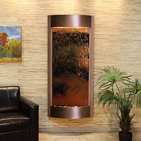 "Pacifica Waters 69""H Bronze Mirror Copper Vein Wall Fountain"