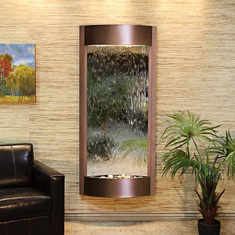 "Pacifica Waters 69""H Copper Vein and Mirror Wall Fountain"