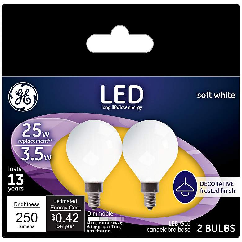 25W Equivalent Frost 3.5W LED Dimmable Candelabra 2 Pack