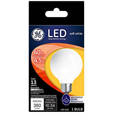 40W Equivalent  Frost 4.5W LED Dimmable Standard G25
