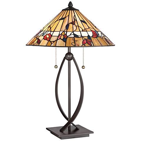Quoizel Western Bronze Tiffany Trellis Table Lamp