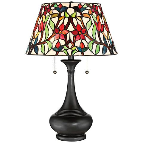 Quoizel Red Blossom Tiffany-Style Vase Table Lamp