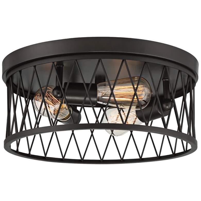 "Arris 14 1/2"" Wide Vintage Bronze 3-Light Ceiling Light"