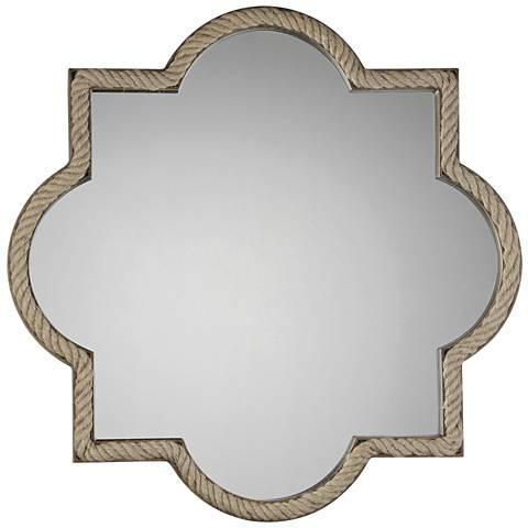 "Quoizel Twining Wood 34"" x 34"" Wall Mirror"