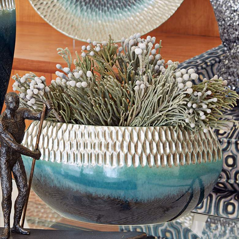 """Pewter and Aqua 15 1/2"""" Wide Ceramic Decorative Bowl"""