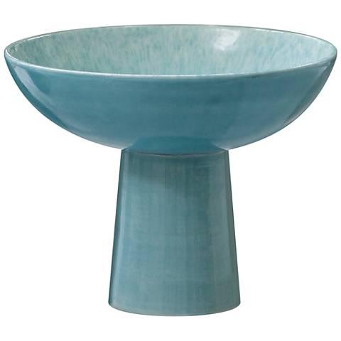 Chamomile Small Aqua Reactive Glaze Footed Bowl