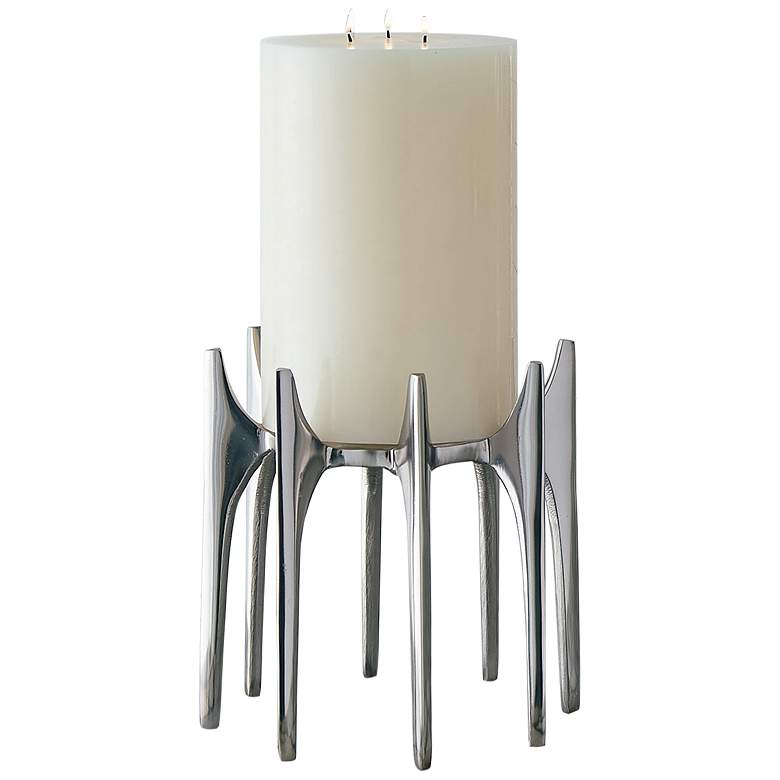 "Aquilo Small 9"" High Antique Nickel Pillar Candle"