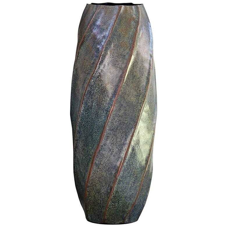 """Blue Patina 18"""" High Medium Twisted Iron Vase"""