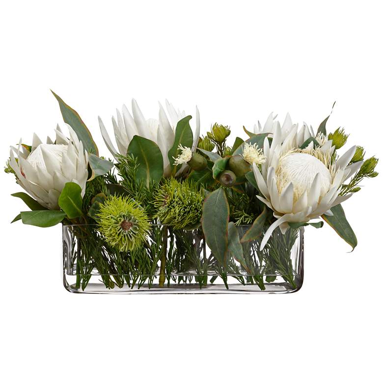 "Cream Protea and Green Eucalyptus 23""W Faux Flowers in Vase"
