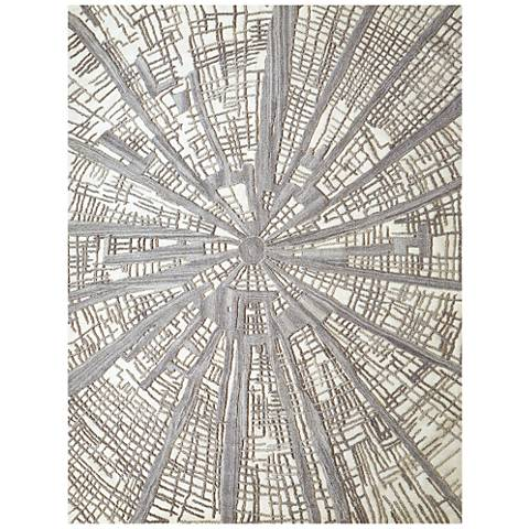 Vortex Gray and Ivory Wool Area Rug