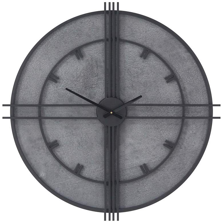 """Metal and Wood Gray 29"""" Wide Round Wall Clock"""