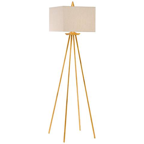 Currey and Company Akimbo Gold Leaf Floor Lamp