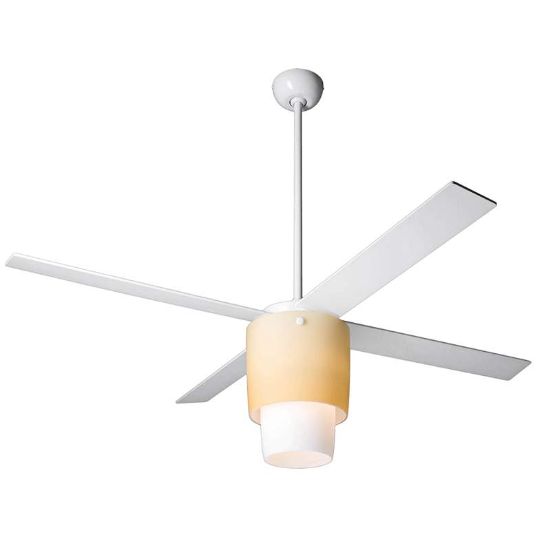 """52"""" Modern Fan Halo Gloss White LED Ceiling Fan"""